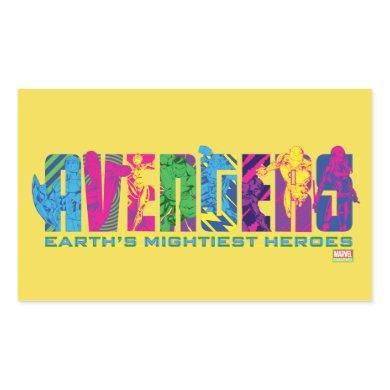 Avengers Classics | Neon Avengers Character Logo Rectangular Sticker