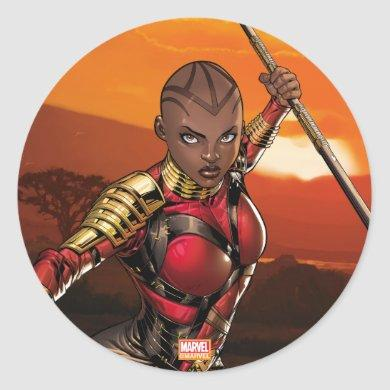 Avengers Classics | Okoye Leaping With Spear Classic Round Sticker