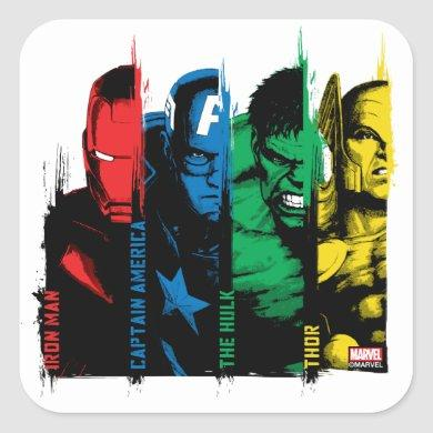 Avengers Classics | Paint Brush Lineup Square Sticker