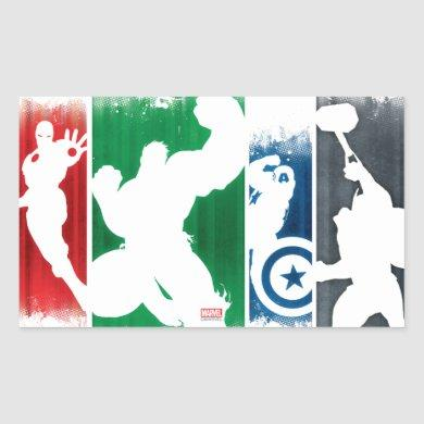 Avengers Classics | Paint Swatch Silhouettes Rectangular Sticker