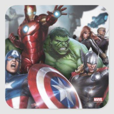 Avengers Classics | Poised For Battle Drawing Square Sticker