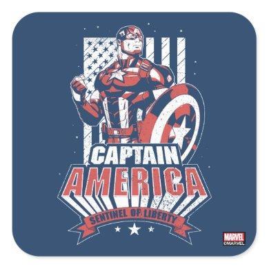 Avengers Classics | Retro Captain America Liberty Square Sticker