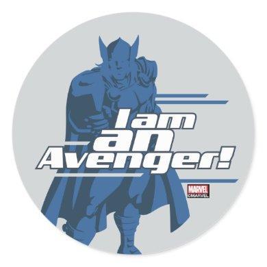 "Avengers Classics | Thor ""I Am"" Graphic Classic Round Sticker"