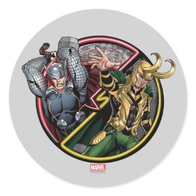 Avengers Classics | Thor Versus Loki Classic Round Sticker