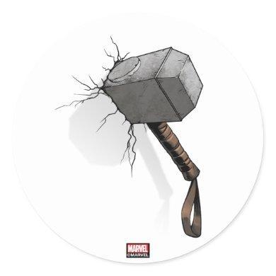 Avengers Classics | Thor's Hammer Struck Classic Round Sticker