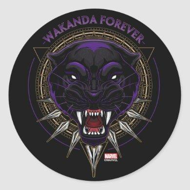 Avengers Classics | Wakanda Forever Panther Emblem Classic Round Sticker