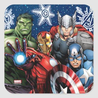 Avengers Classics | Winter Holiday Group Graphic Square Sticker