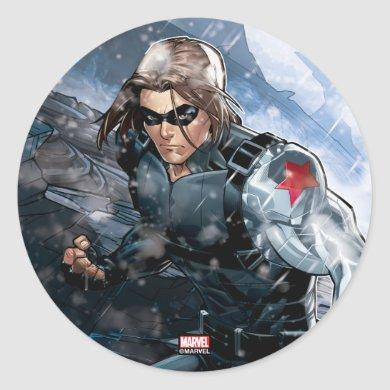 Avengers Classics | Winter Soldier In Snow Classic Round Sticker