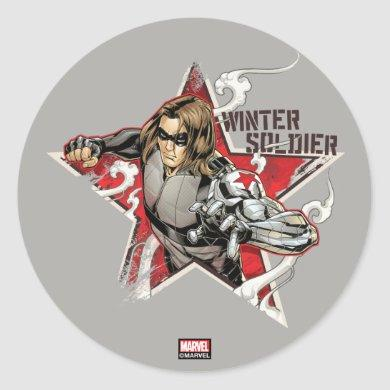 Avengers Classics | Winter Soldier Star Graphic Classic Round Sticker