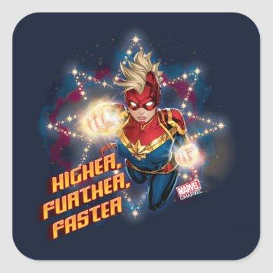 Avengers | Glowing Stars Captain Marvel Graphic Square Sticker