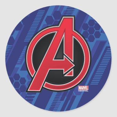 Avengers | High Tech Red Avengers Logo Pattern Classic Round Sticker