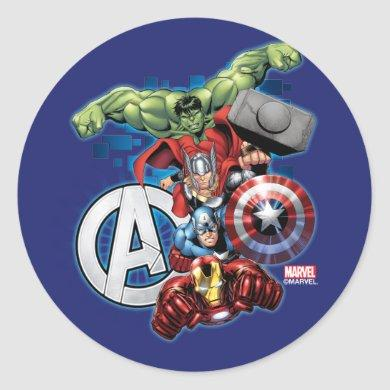 Avengers | High Tech Stacked Group & Logo Classic Round Sticker
