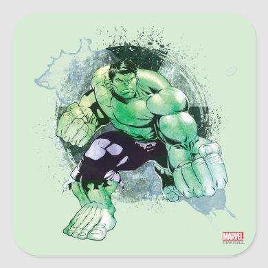 Avengers Hulk Watercolor Graphic Square Sticker