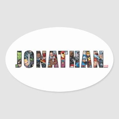 Avengers Name Template Oval Sticker