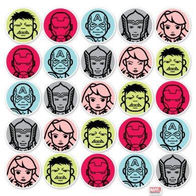 Avengers Stylized Line Art Icons Pattern Sticker