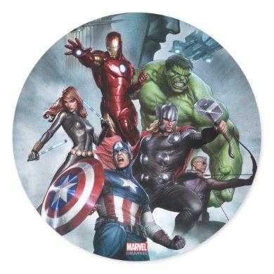 Avengers Versus Loki Drawing Classic Round Sticker