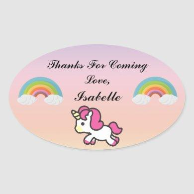 Baby Unicorn Party Thank You Sticker
