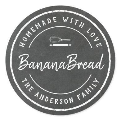 Bakery Logo Homemade Baking Gift Chalkboard Classic Round Sticker