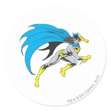 Batgirl Runs Classic Round Sticker