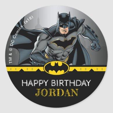 Batman | Chalkboard Happy Birthday Classic Round Sticker