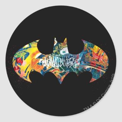 Batman Logo Neon/80s Graffiti Classic Round Sticker
