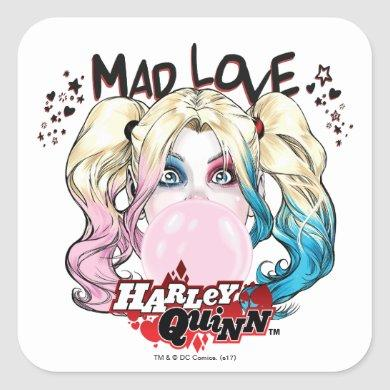 Batman | Mad Love Harley Quinn Chewing Bubble Gum Square Sticker