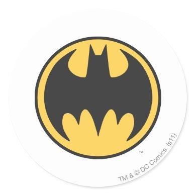 Batman Symbol   Dark Yellow Circle Logo Classic Round Sticker