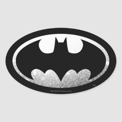 Batman Symbol   Grainy Logo Oval Sticker