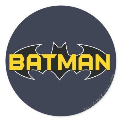 Batman Symbol   Name Yellow & Black Logo Classic Round Sticker
