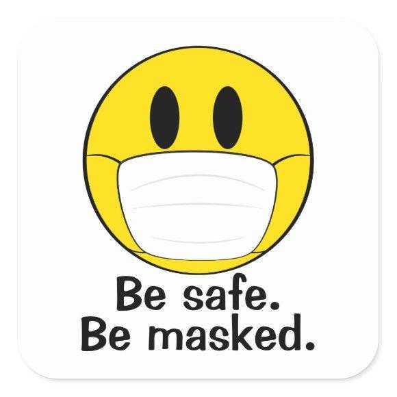 Be Masked Emoji Square Sticker