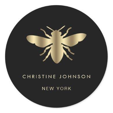 bee logo on black classic round sticker