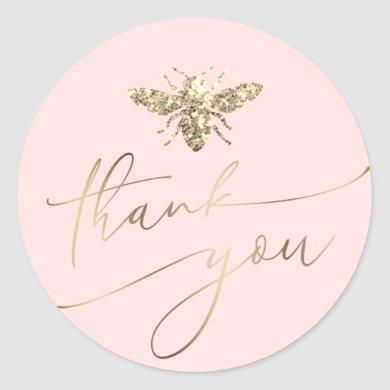 bee thank you classic round sticker