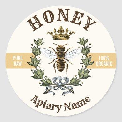 Bee Wreath and Crown Honey Jar 2 Classic Round Sticker