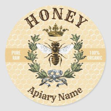Bee Wreath and Crown Honey Jar Classic Round Sticker