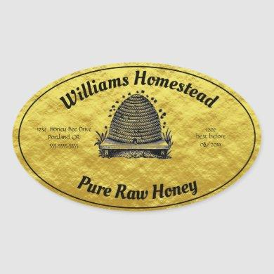 Beehive Honey Faux Gold Jar Apiary Label | Honey