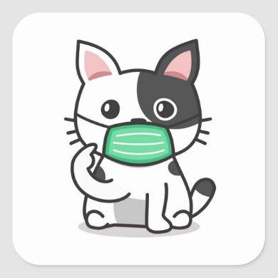 BLACK AND WHITE KITTEN WITH MASK Square Stickers