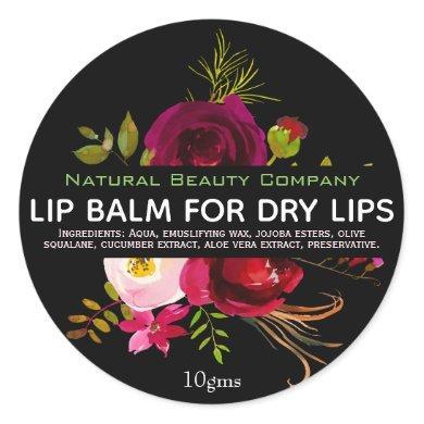 Black Floral Labels For Lip Balms Pots
