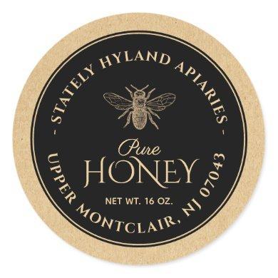 Black on Kraft Honey Label (Vintage Bee)