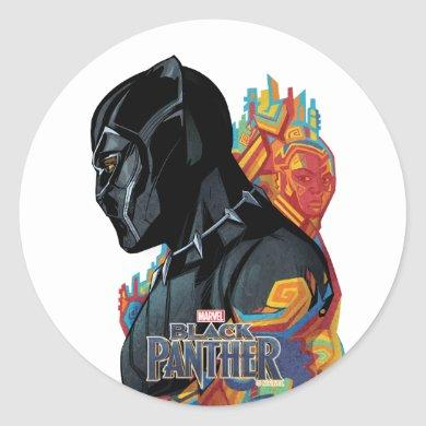 Black Panther | Black Panther Tribal Graffiti Classic Round Sticker