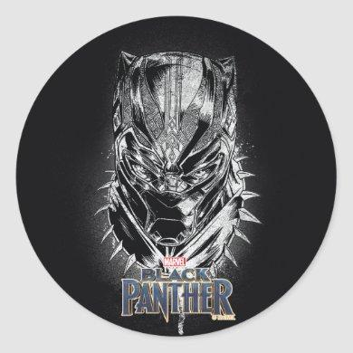 Black Panther | Black & White Head Sketch Classic Round Sticker