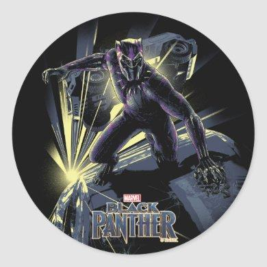 Black Panther | Car Chase Graphic Classic Round Sticker