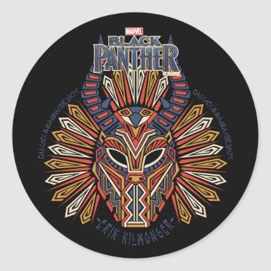 Black Panther | Erik Killmonger Tribal Mask Icon Classic Round Sticker