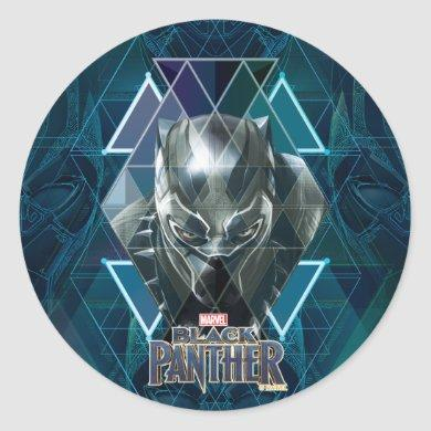 Black Panther | Geometric Character Pattern Classic Round Sticker