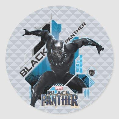 Black Panther | High-Tech Character Graphic Classic Round Sticker