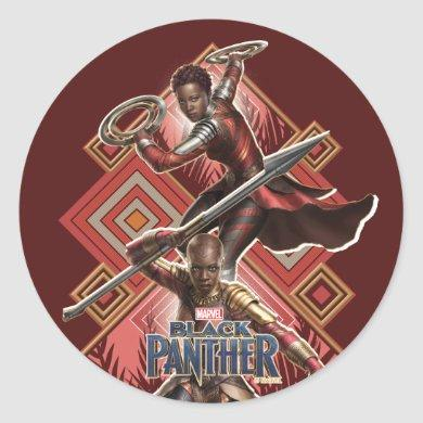Black Panther | Nakia & Okoye Wakandan Graphic Classic Round Sticker