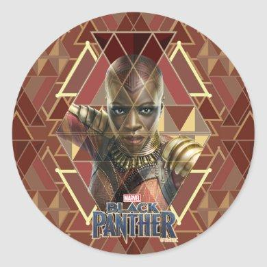 Black Panther | Okoye Geometric Panel Classic Round Sticker
