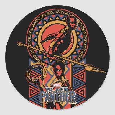 Black Panther | Okoye & Nakia Wakandan Panel Classic Round Sticker