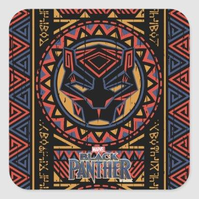 Black Panther | Panther Head Tribal Pattern Square Sticker