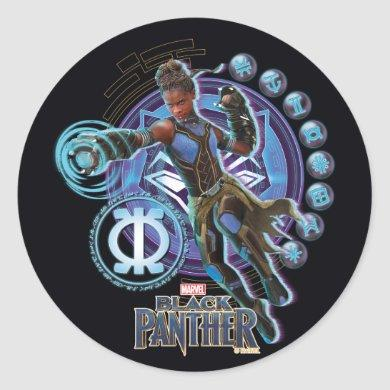 Black Panther | Shuri With Wakandan Symbols Classic Round Sticker