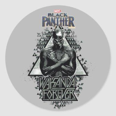 "Black Panther | ""Wakanda Forever"" Graphic Classic Round Sticker"